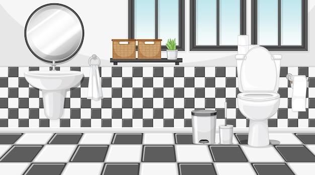 Interior de baño con muebles en tema blanco y negro