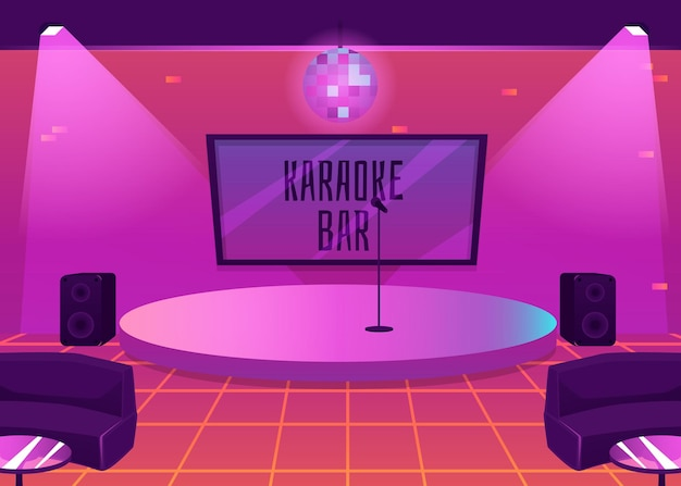 Interior de bar de karaoke con escenario.