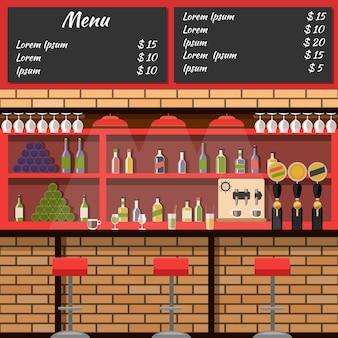 Interior del bar con menú de tablero en estilo plano