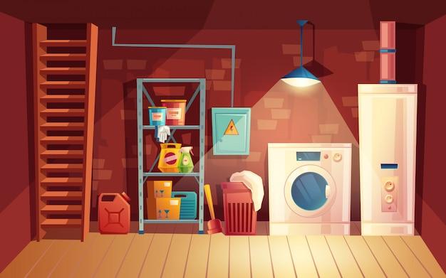 Interior de la bodega, lavandería dentro del sótano en estilo de dibujos animados.