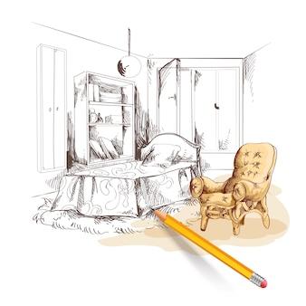 Interior del bosquejo del dormitorio