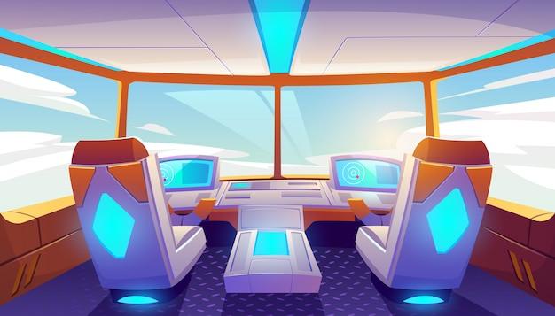 Interior de la cabina del avión vacío