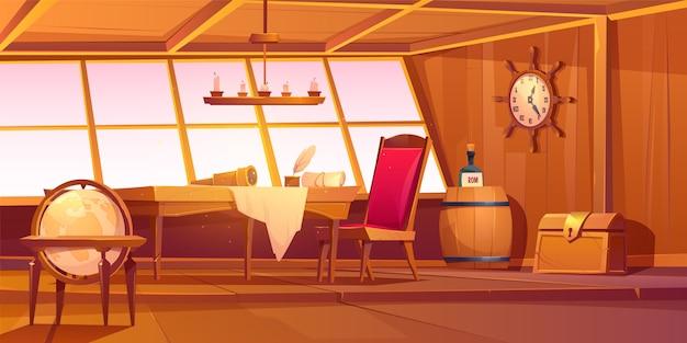 Interior de cabina de barco pirata capitán