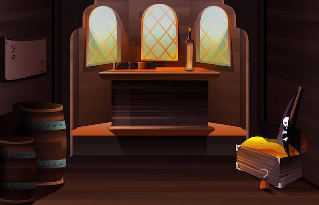 Interior de la cabina del capitán en barco pirata