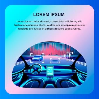 Interior de cabina de coche inteligente