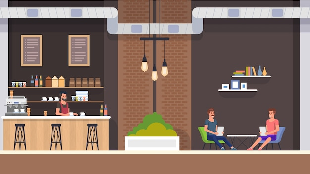 Interior del cafe. barista y visitantes.