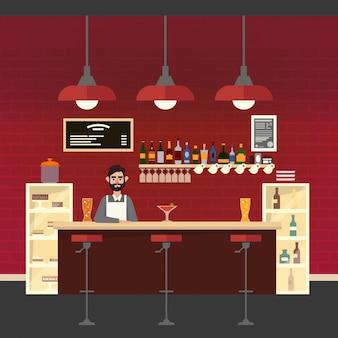 Interior del cafe con barman