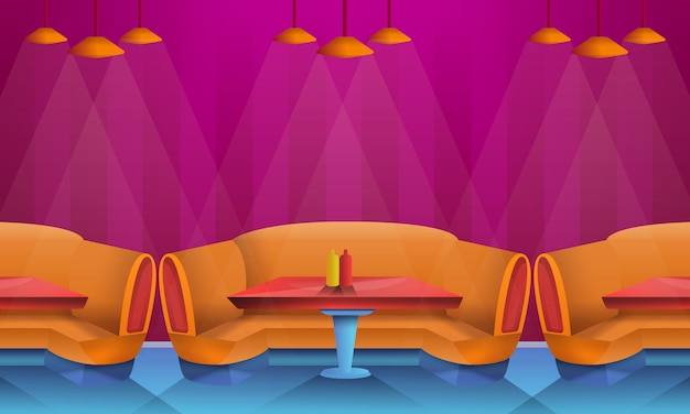 Interior de café de dibujos animados con sofás, ilustración vectorial