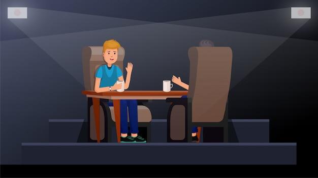 Interior del café con gente disfrutando del tiempo. los amigos están sentados en una mesa en la ilustración vectorial plana café