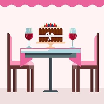 Interior del café con pastel de cumpleaños, copas de vino en rosa.