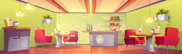 Interior de la cafetería o cafetería con mostrador de caja, estante con paquetes de frijoles tostados, mesas con postre y sillones, papelera