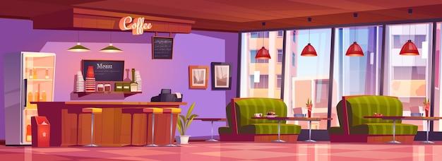 Interior de cafetería o cafetería con mostrador de caja, refrigerador, menú de pizarra, mesas con cómodos sofás, bar y sillas