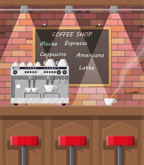 Interior de cafetería, pub, cafetería o bar.