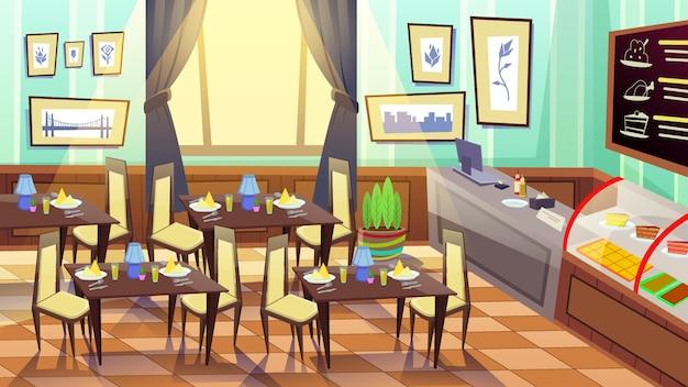 Interior de la cafetería vacía moderna