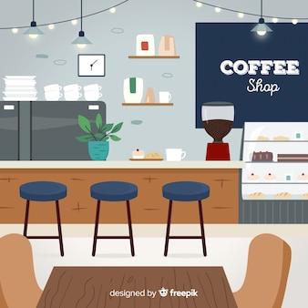 Interior de cafetrería elegante con diseño plano