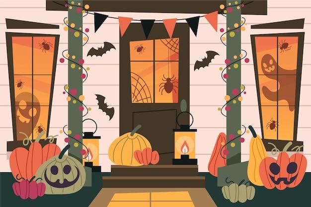 Interior de una casa decorada de halloween