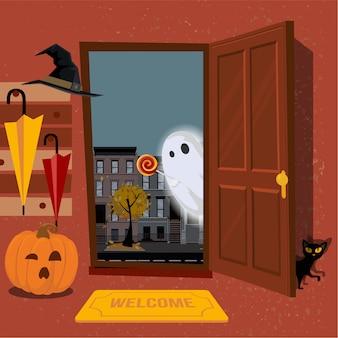 Interior de la casa, decorado para halloween, calabaza con taza en el pasillo debajo de la percha con sombrillas, gato negro se esconde detrás de la puerta. la puerta está abierta y ghost mira hacia la calle. ilustración de dibujos animados plana