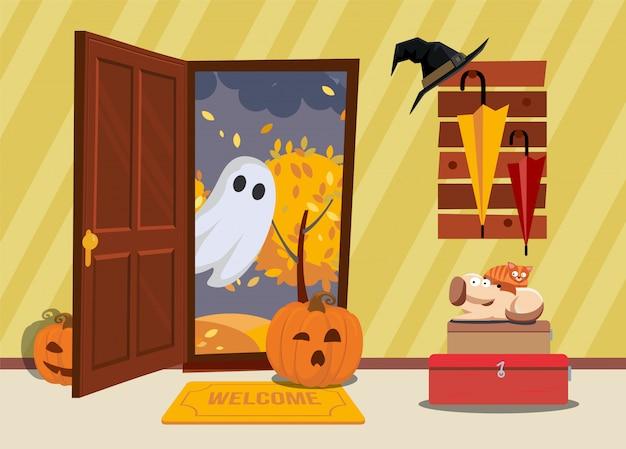 Interior de la casa de halloween. el gato y el perro tienen miedo de la calabaza y los fantasmas entran por la puerta del pasillo.