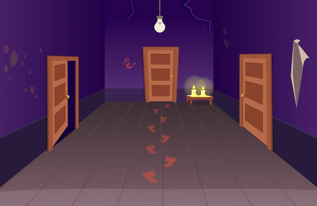 Interior de la casa de miedo con puertas, huellas de sangre y velas. ilustración de vector de dibujos animados de halloween del corredor.