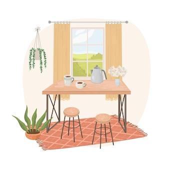 Interior de casa moderna con mesa y plantas de interior