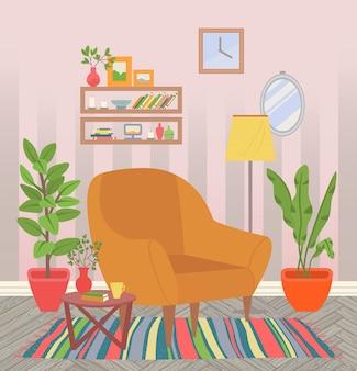 Interior de la casa, silla con plantas de interior y alfombra