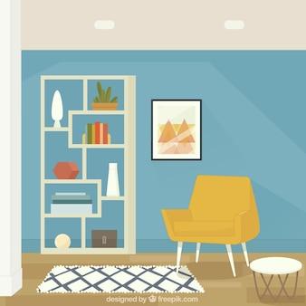 Interior de casa con sillón y estantería