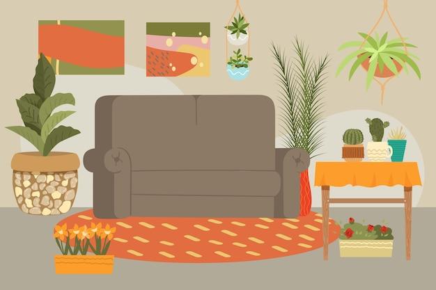 Interior de la casa, sofá de muebles modernos y contemporáneos, mesa, decoración, sala de estar, ilustración. confort relajante de fondo, minimalismo moderno, confort de sillón.
