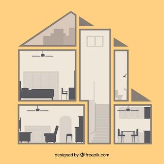 Interior de casa vintage en diseño plano