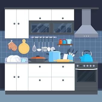 Interior casero de la cocina con el horno y el ejemplo del vector del artículos de cocina.