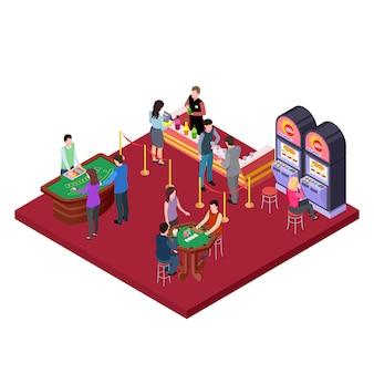 Interior del casino con área de bar isométrica