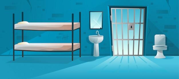 Interior de la celda de prisión con celosía, rejilla de la puerta de la cárcel.