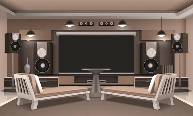 Interior de cine en casa con mesa redonda