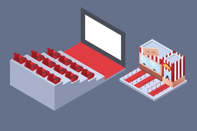 Interior de cine isométrico