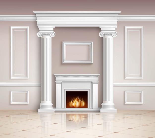 Interior clásico con chimenea