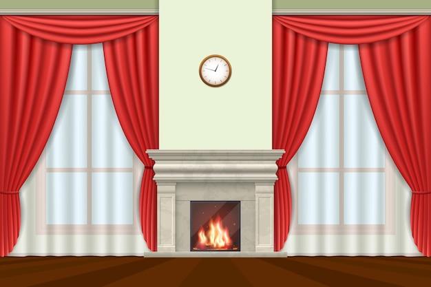 Interior clásico. interior de la sala de estar con cortinas y chimenea.