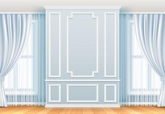 Interior clásico pared blanca con molduras y ventana. decoración de vector vintage de sala de hogar