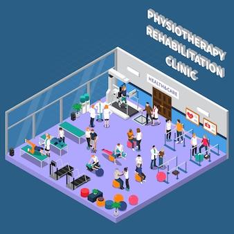 Interior de la clínica de rehabilitación de fisioterapia