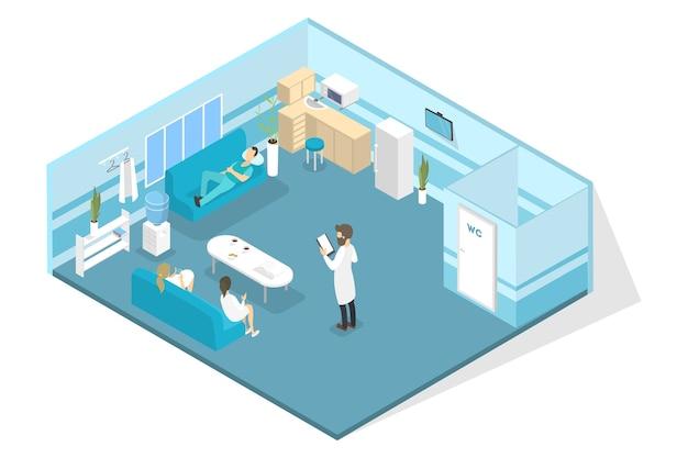 Interior de la clínica veterinaria con médicos que descansan. tratamiento animal. ilustración isométrica