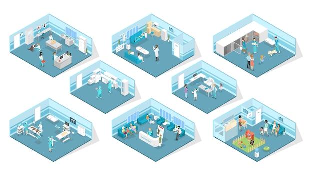 Interior de la clínica veterinaria con recepción, sala de espera, exámenes y quirófanos. tratamiento animal. médicos y mascotas enfermas. ilustración de vector isométrico aislado