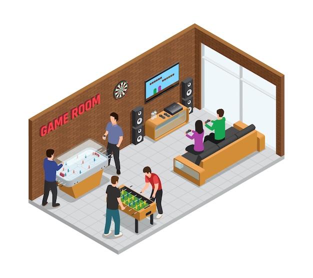 Interior del club de juego casero composición isométrica acogedora sala para la relajación
