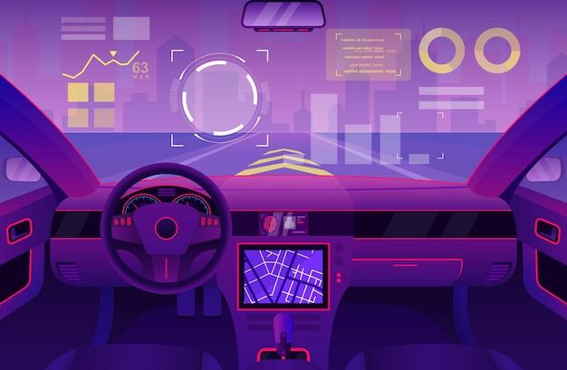 Interior del coche futurista cabina de automóvil de dibujos animados del futuro de la interfaz de usuario con interfaz digital de parabrisas