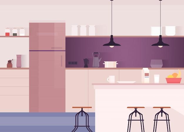 Interior de cocina, comedor confortable utensilios de cocina y electrodomésticos