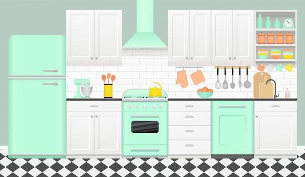 Interior de cocina con electrodomésticos retro, muebles,
