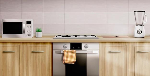 Interior de cocina con estufa a gas y microondas.
