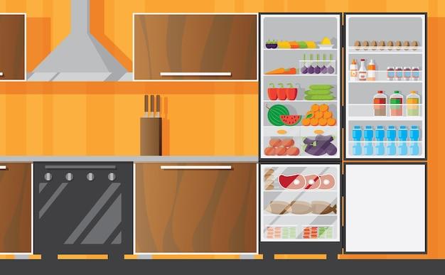 Interior de cocina con frizer abierto plano