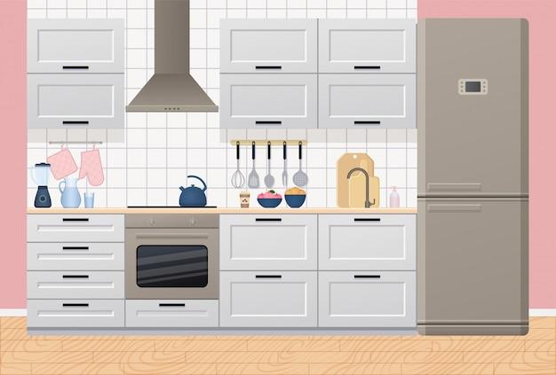 Interior de cocina ilustración en piso.