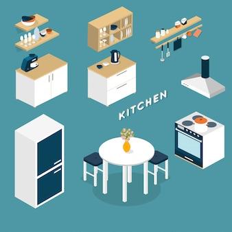 Interior de cocina isométrica