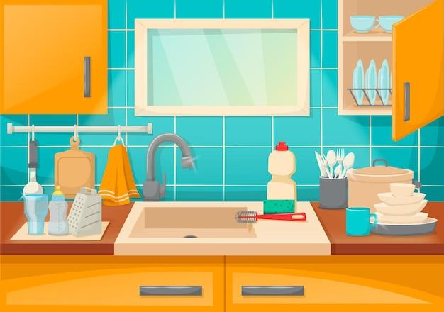 Interior de cocina limpia con platos de lavado resplandor. pila de vajilla de limpieza con detergente, esponja