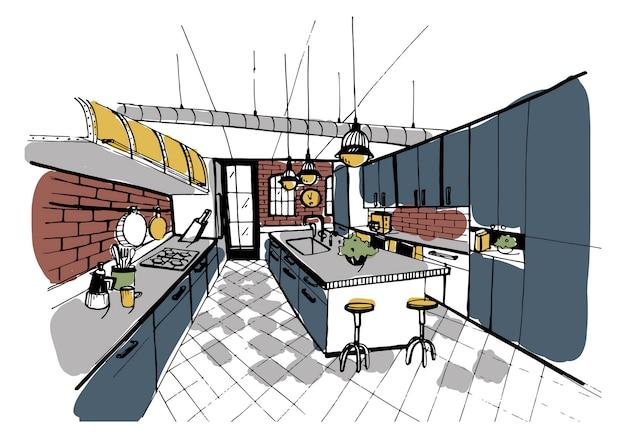 Interior de cocina moderna en estilo loft. dibujado a mano ilustración colorida.