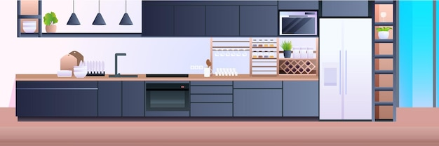 Interior de la cocina moderna vacía sin gente casa habitación ilustración horizontal